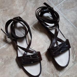Yves saint laurent rive gauche leather sandal